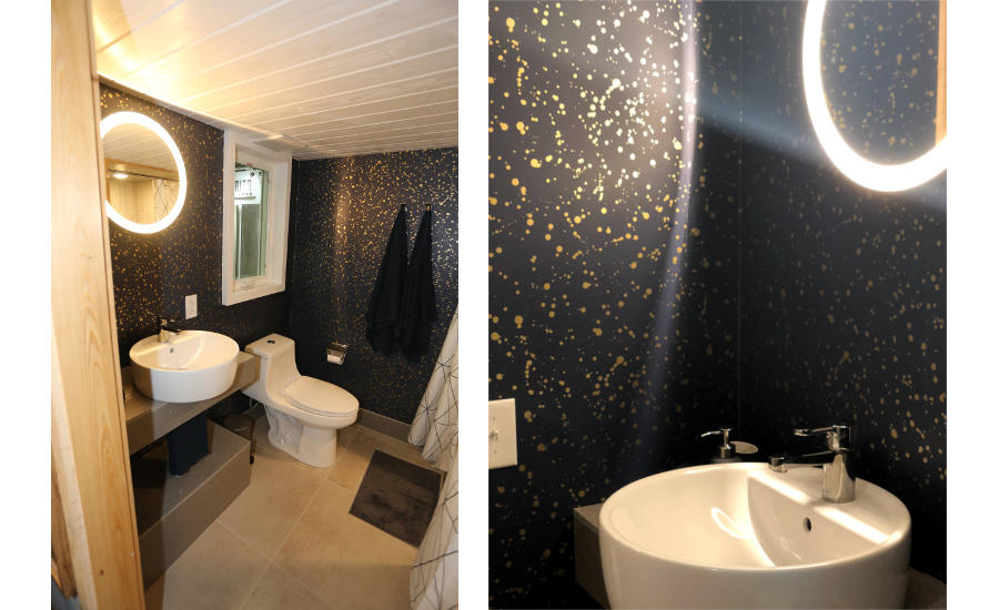 large-format panel installation in bathroom