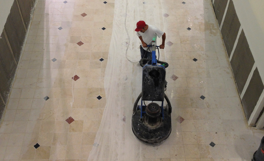 Grinding and Repolishing Mall Floor