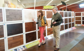 Professional retailers display large samples on private displays