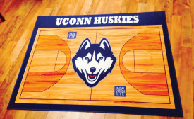 UConn Huskies mascot on digitally-printed carpet