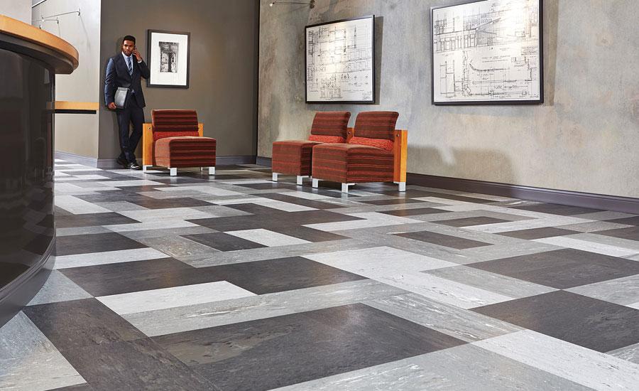 Tarkett brings natural organic visuals to rubber flooring for Rubber wood flooring