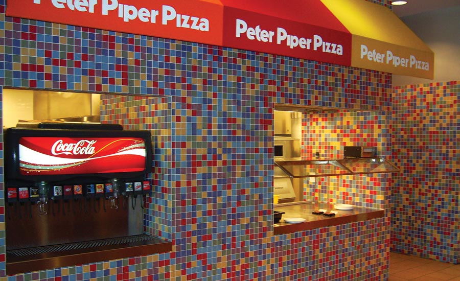 wall tile installation at Peter Piper Pizza