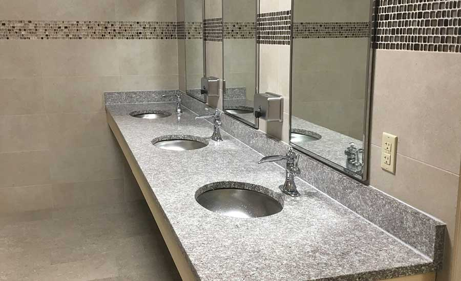 tile sink in locker room