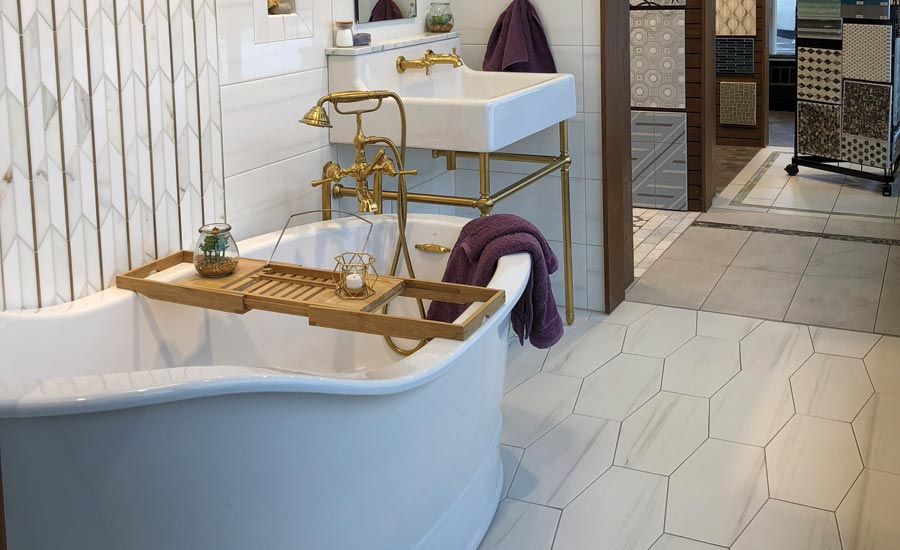 bathroom vignette in Tile America showroom