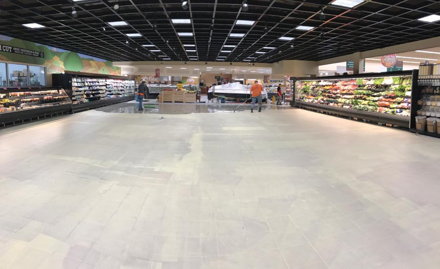 flooring installation at grocery store