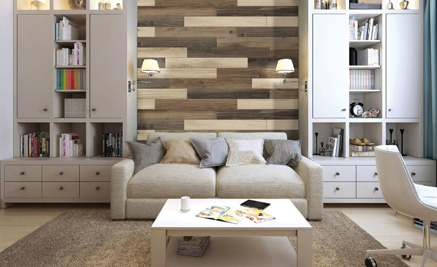 Metroflors Vercade plank and tile wall accents
