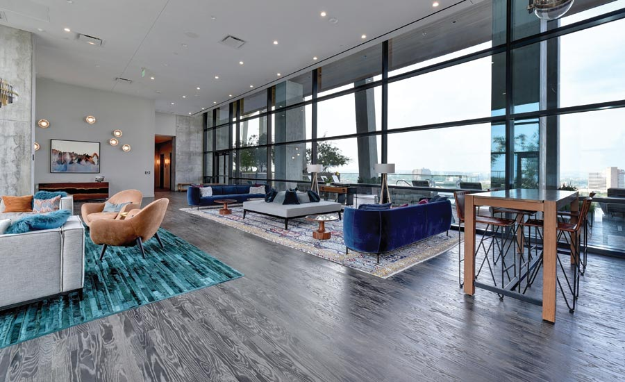 CFS' work in the lounge of a luxury high rise condo building