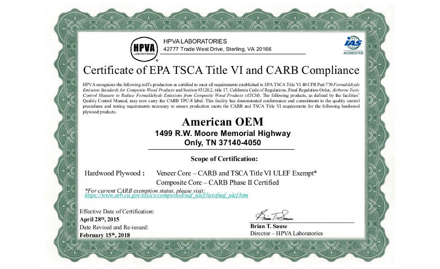 American Oem Obtains Renewed Carb Exemption 2018 02 20