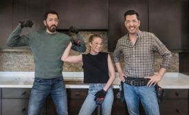 HGTVs Property Brothers in a kitchen with LeAnn Rimes.