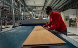 Oak wood veneer being manufactured by Spacva in Croatia.